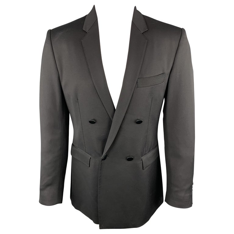 JUST CAVALLI Size 40 Black Double Breasted Notch Lapel Sport Coat For Sale