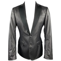 JUST CAVALLI Size 40 Black Stripe Polyester Blend Peak Lapel Sport Coat