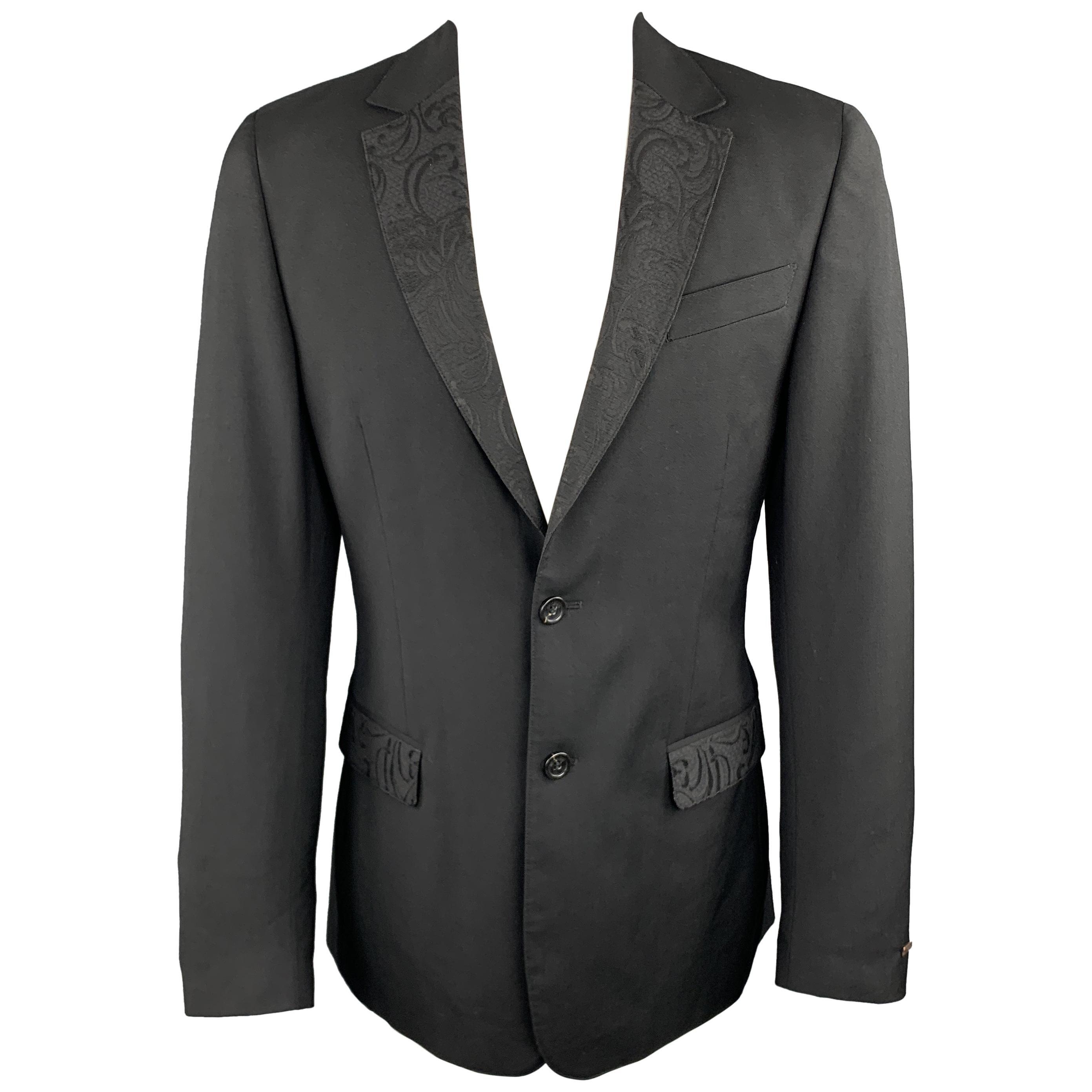 JUST CAVALLI Size 40 Black Wool Lace Notch Lapel Sport Coat
