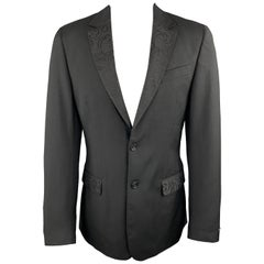 JUST CAVALLI Size 40 Black Wool Lace Notch Lapel Sport Coat
