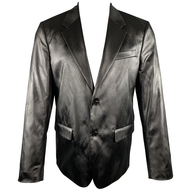 JUST CAVALLI Size 40 Metallic Animal Print Notch Lapel Sport Coat