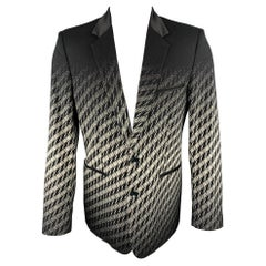 JUST CAVALLI Size 42 Black & White Ombre Houndstooth Notch Lapel Sport Coat