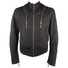 JUST CAVALLI Size 44 Black Cotton High Neck Zip Jacket