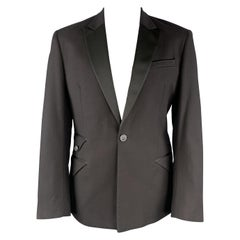 JUST CAVALLI Size 46 Black Cotton Satin Peak Lapel Flap Pocket Tuxedo