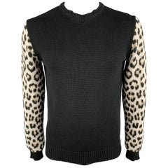 JUST CAVALLI Size L Black & White Animal Print Cotton Crew-Neck Pullover Sweater