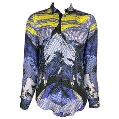 JUST CAVALLI Size L Blue & Yellow Print Silk French Cuff Long Sleeve Shirt