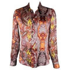 JUST CAVALLI Size L Burgundy & Brown Print Silk Button Up Long Sleeve Shirt