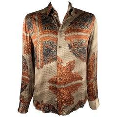 JUST CAVALLI Size L Copper & Brown Print Silk Button Up Long Sleeve Shirt