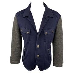 JUST CAVALLI Size L Navy & Grey Color Block Knit Jacket