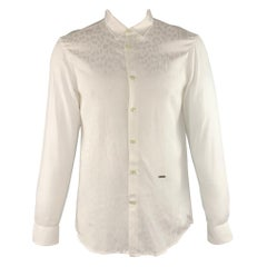 JUST CAVALLI Size L White on White Animal Print Button Up Long Sleeve Shirt