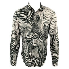 JUST CAVALLI Size M Black & White Abstract Print Cotton Button Up Shirt