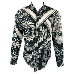 JUST CAVALLI Size M Black & White Print Cotton Button Up Long Sleeve Shirt