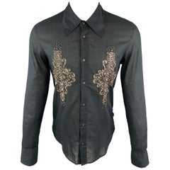 JUST CAVALLI Size M Embellishment Black Cotton Button Up Long Sleeve Shirt