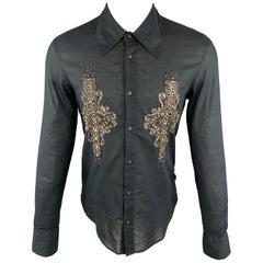 JUST CAVALLI Size M Embellishment Black Cotton Button Up Long Sleeve Shirt