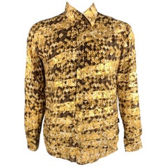 JUST CAVALLI Size M Gold & Brown Print Silk Button Up Long Sleeve Shirt