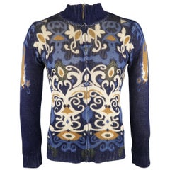 JUST CAVALLI Size M Navy Print Wool Cardigan Sweater