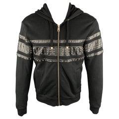 JUST CAVALLI Size S Black Cotton Grommets Leather Trim Hoodie Jacket