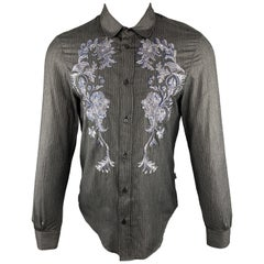 JUST CAVALLI Size S Embroidery Charcoal Striped Viscose Blend Long Sleeve Shirt