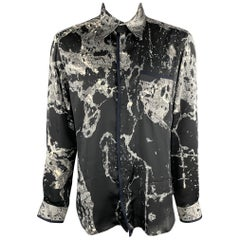 JUST CAVALLI Size XL Black & Grey Print Polyester Button Up Long Sleeve Shirt