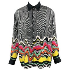 JUST CAVALLI Size XL Black & White Print Viscose Long Sleeve Shirt