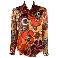 JUST CAVALLI Size XL Gold & Brown Print Silk Button Up Long Sleeve Shirt