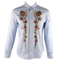 JUST CAVALLI Size XL Light Blue Embellishment Cotton Button Up Long Sleeve Shirt
