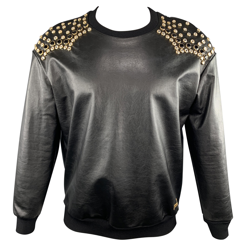 JUST CAVALLI Size XS Black Rhinestone Studded Coated Cotton Crew-Neck Sweatshirt