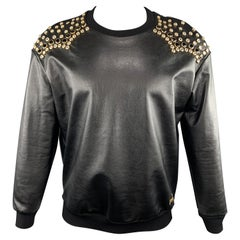 JUST CAVALLI Size XS Black Rhinestone Studded Coated Cotton Crew-Neck Sweatshirt