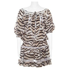 Just Cavalli Tiger Stripe Print Mesh Insert Smocked Waist Dress S