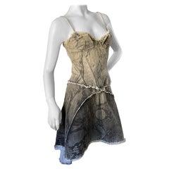 Just Cavalli Vintage Cotton Denim Snake Print Corset Dress by Roberto Cavalli