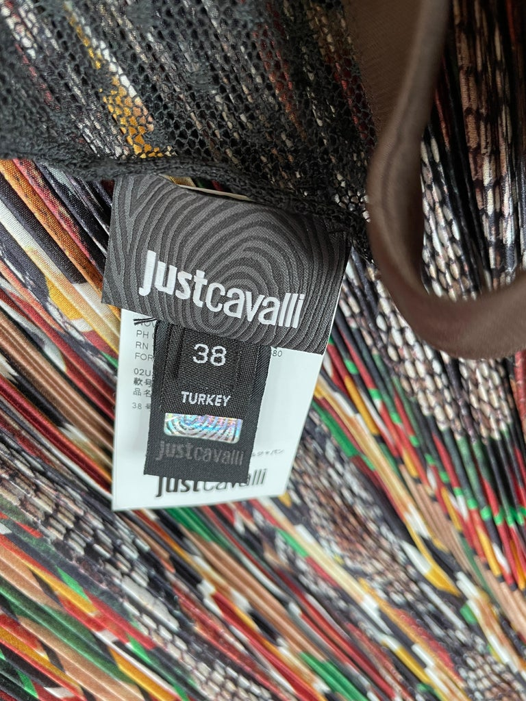 Just Cavalli Vintage Pleated Ikat Print Evening Dress with Sheer Sexy Back  For Sale 5