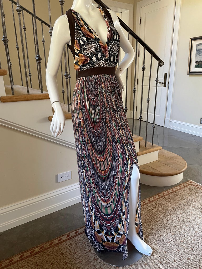 Just Cavalli Sexy Vintage Pleated Ikat Print Evening Dress with Sheer Sexy Back  Sz 38 Bust 36