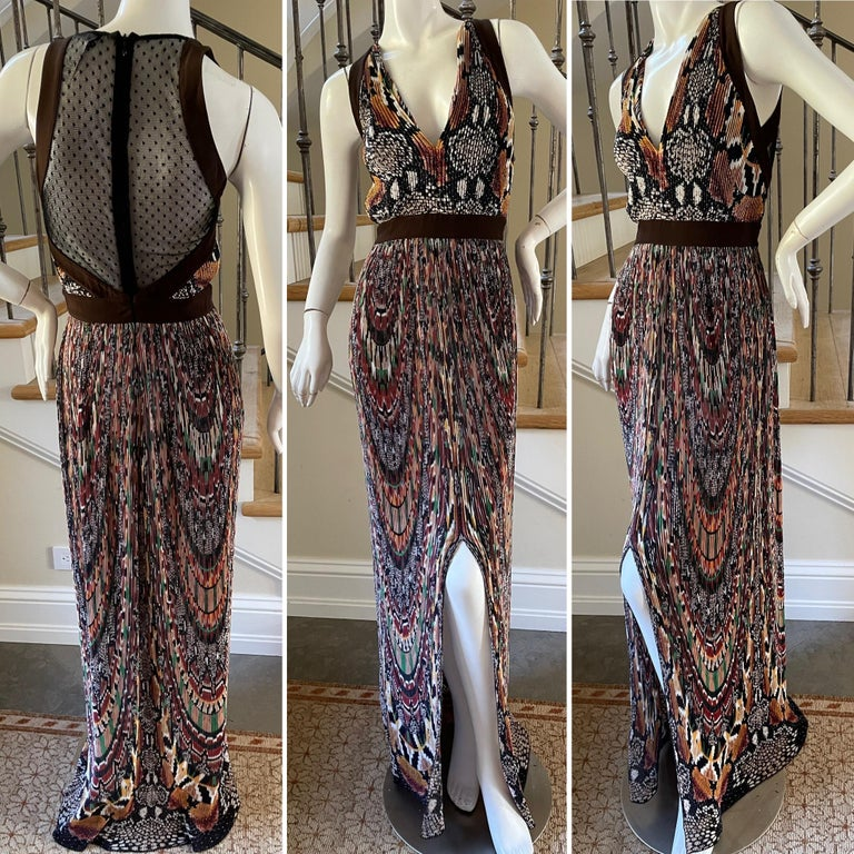 Black Just Cavalli Vintage Pleated Ikat Print Evening Dress with Sheer Sexy Back  For Sale