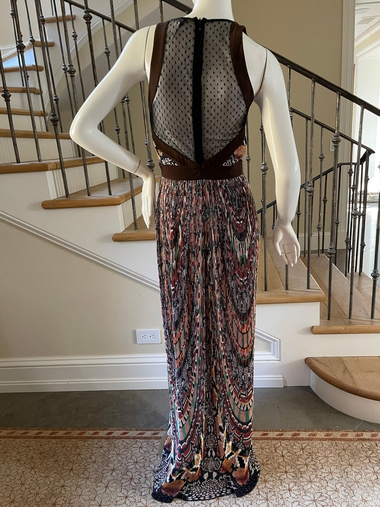 Just Cavalli Vintage Pleated Ikat Print Evening Dress with Sheer Sexy Back  For Sale 2