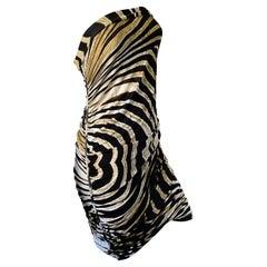 Just Cavalli Vintage Strapless Zebra Stripe Cocktail Dress