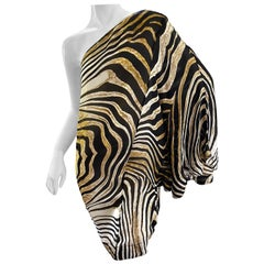 Just Cavalli Zebra Print One Sleeve Zebra Cocktail Dress by Roberto Cavalli