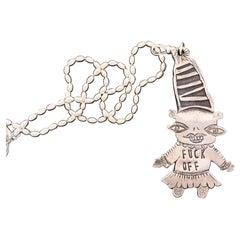 Just Thinking, Melanie Yazzie pendant Navajo, F*&k Off, cast sterling silver