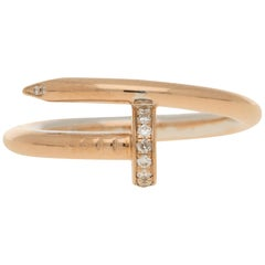 Diamond Set Juste un Clou Nail Ring in Rose Gold, Size 58