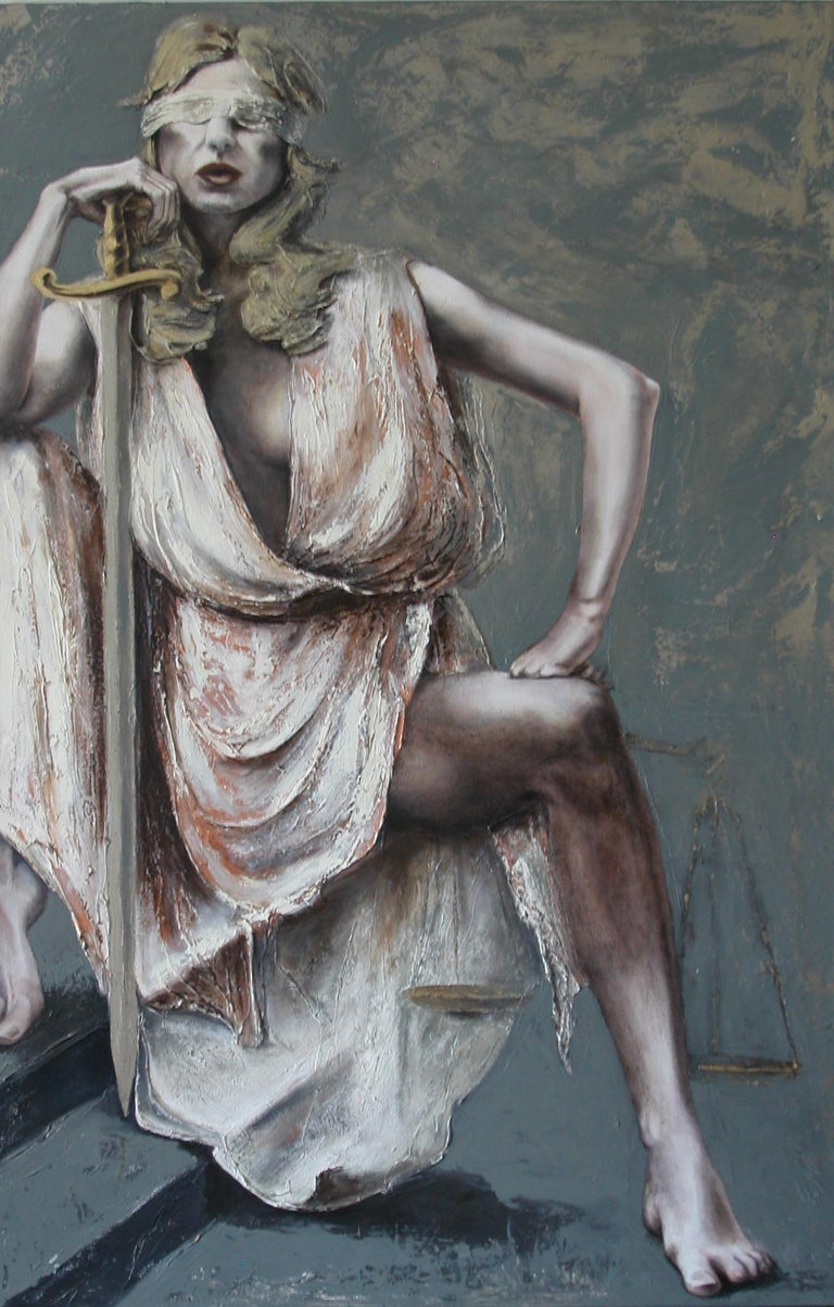 Justice III former lawyer Guusje Bertholet has depicted Justice in a series of paintings. This representation, third in the series, shows the strength and power of Justice personified. A real statement piece in the truest sense beautiful!
