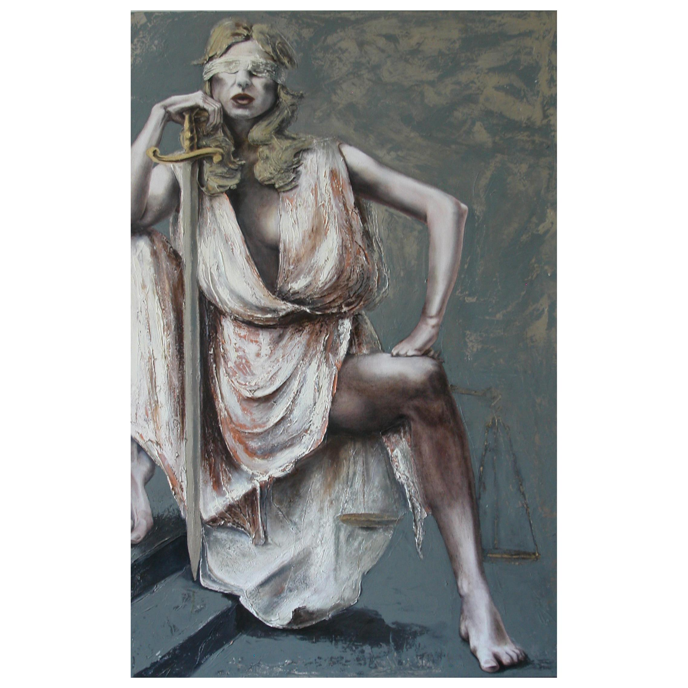 Justice III, Contemporary Figurative Oil Painting by Guusje Bertholet