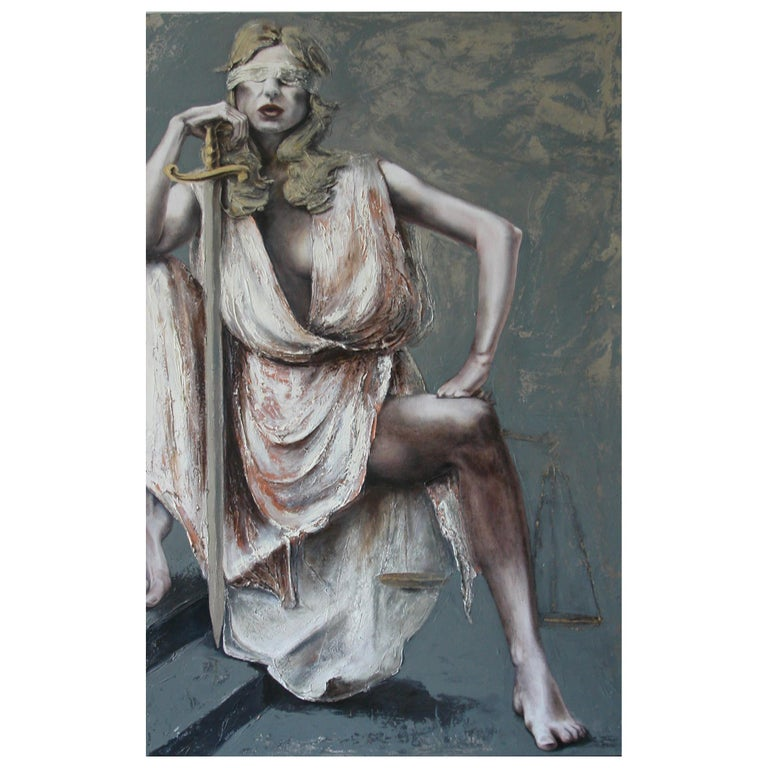 Justice III, Contemporary Figurative Oil Painting by Guusje Bertholet For Sale