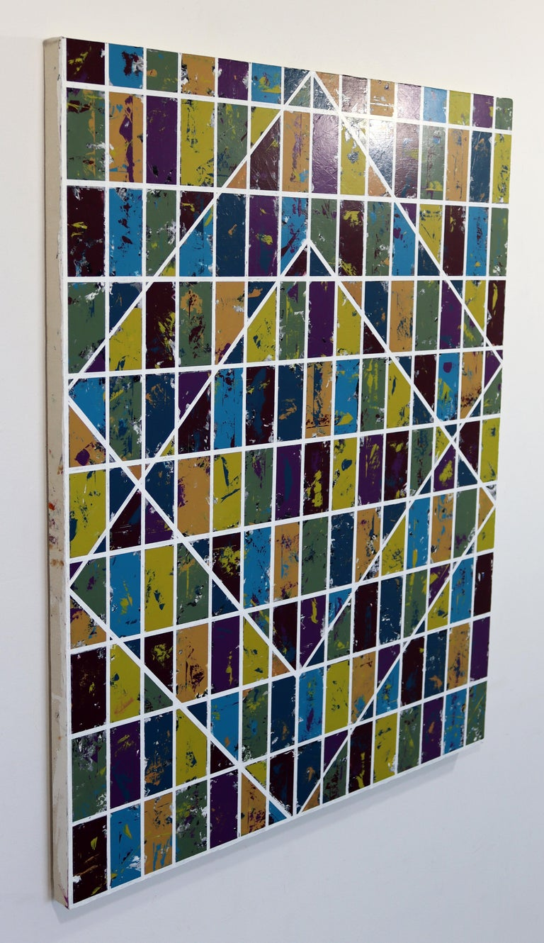 Justin Bean Confluence Geometric Abstact Acrylic Painting In Good Condition For Sale In Keego Harbor, MI