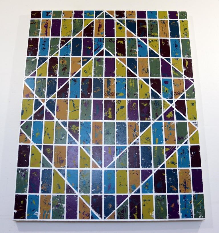 Contemporary Justin Bean Confluence Geometric Abstact Acrylic Painting For Sale