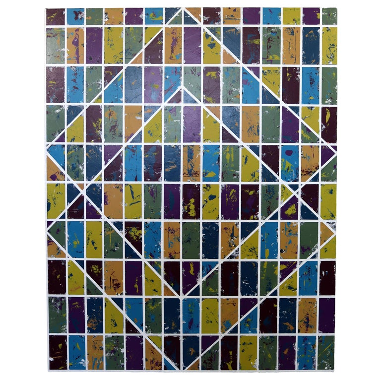 Justin Bean Confluence Geometric Abstact Acrylic Painting For Sale