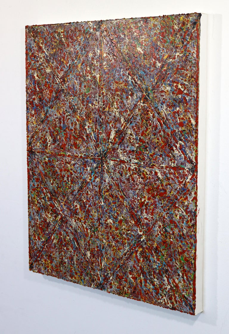 Justin Bean Cosmogony Geometric Abstract Acrylic Painting In Good Condition For Sale In Keego Harbor, MI