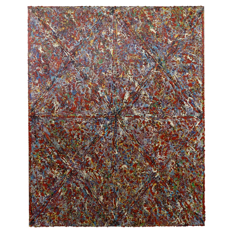 Justin Bean Cosmogony Geometric Abstract Acrylic Painting For Sale