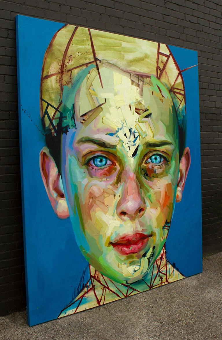 Contemporary Justin Bower Abstract Oil Painting on Canvas 'Blue Boy 2' For Sale