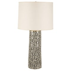 Justin Goodall Dorn Earthenware Lamp with Linen Shade