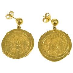 Justin II Byzantine Empire Genuine Roman Coin Earrings