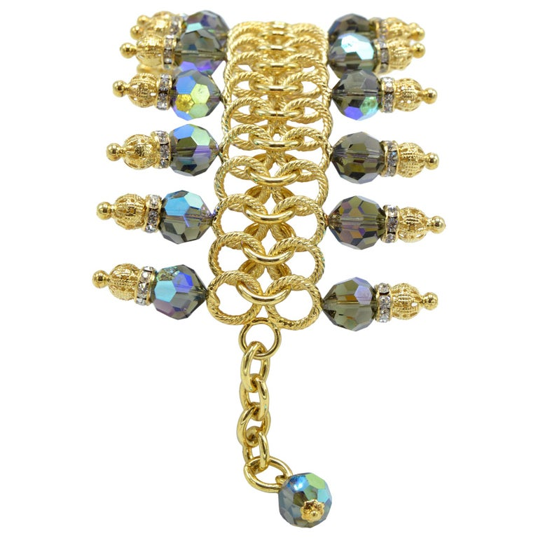Justin Joy Costume Runway Bracelet in Gold Leaf and Blue Stones, Italy For Sale